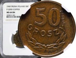 RR-, 50 groszy 1949, miedź, PRÓBA TECHNOLOGICZNA, nakł. nieznany
