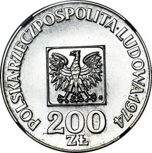 RR-, 200 złotych 1974 XXX lat PRL, srebro PRÓBA, nakład 24 szt.
