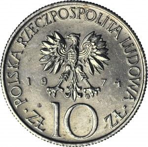 RRR-, 10 złotych 1974, Mickiewicz, PRÓBA, MIEDZIONIKIEL, nakład 20szt., ODMIENNA