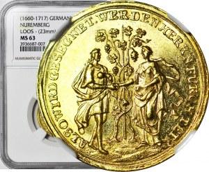 Niemcy, Nurnberg, Leopold I, Dukat 1696, ex. kolekcja Globus