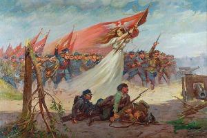Stanisław BAGIEŃSKI (1876-1948), Polonia prowadząca do boju, ok. 1920