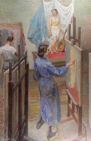 Tadeusz SZEWCZYK-BARWECKI (1912-1999), W pracowni malarskiej Akademii Sztuk Pięknych
