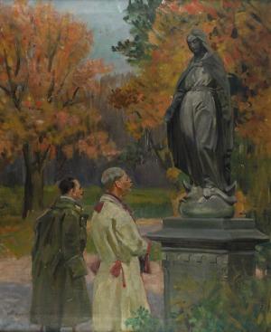 Marian NOWICKI (1904-po1939), Ojciec i syn przed figura Madonny, 1924