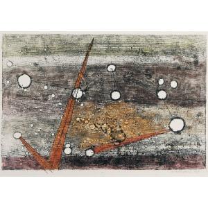 Czesław SADOWSKI (1902-1959), Kompozycja II - z białymi kołami, 1959