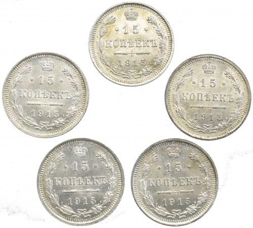 Rosja, Mikołaj II, zestaw 5 x 15 kopiejek 1915 UNC