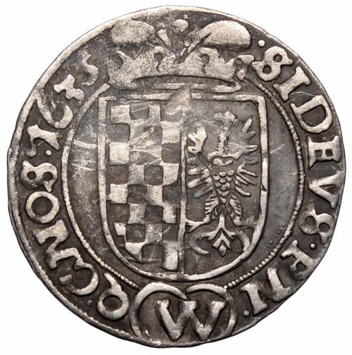 Śląsk, Stany Ewangelickie, 3 krajcary 1635, Wrocław - nieopisany EVAN SIL