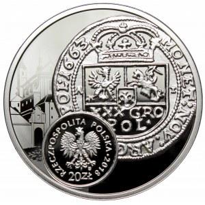 III RP, 20 złotych 2018 Historia monety polskiej boratynka, tymf Jana Kazimierza