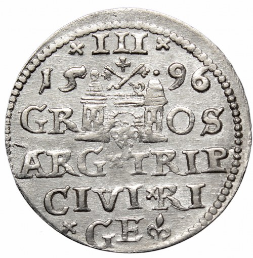 Zygmunt III Waza, Trojak 1596, Ryga - nieopisany bez kropki po LI