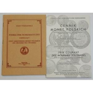 Józef Tyszkiewicz, Podręcznik numizmatyczny zawierający ceny amatorskie monet polskich od 1506 do 1795 roku; Konrad Berezowski, Cennik Monet Polskich – zestaw cenników monet (szt. 2)