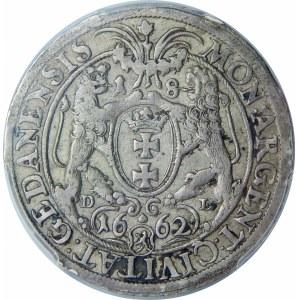 Jan II Kazimierz, Ort 1662, Gdańsk – lew w tarczy – R P
