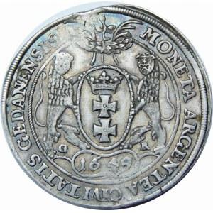 Jan II Kazimierz, Talar 1649, Gdańsk – lew w tarczy – G - R