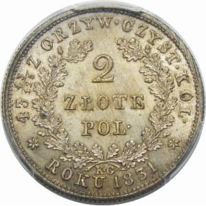 Powstanie Listopadowe, 2 złote 1831 – bez pochwy – bez daszków – super