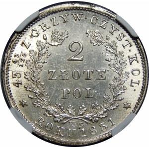 Powstanie Listopadowe, 2 złote 1831 – bez pochwy – z daszkami – super