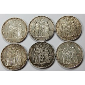 10 franków 1965 i 1966 razem 6 sztuk
