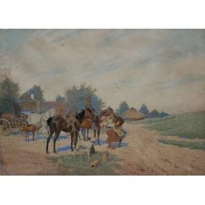 Stanisław Masłowski (1853-1926), Scena rodzajowa przed polowaniem