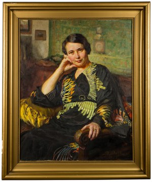 Bolesław Barbacki (1891-1941), Portret kobiety w kimonie, 1938 r