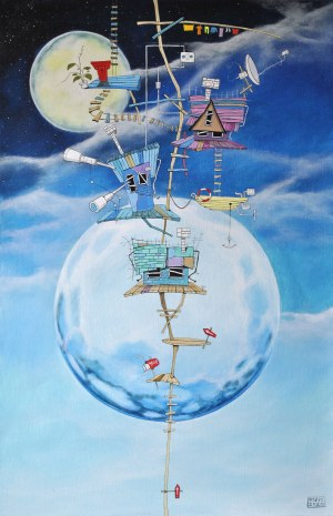 Dariusz Franciszek Różyc, Niebieski pejzaż z żółtą łódką i roślinką, z cyklu