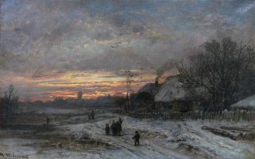 Adolf Stademann (1824 Monachium - 1895 tamże), Pejzaż zimowy
