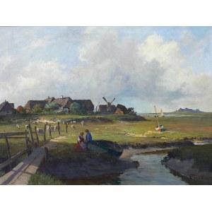 Henry Gundlach (1884-1964), Pejzaż z łódkami