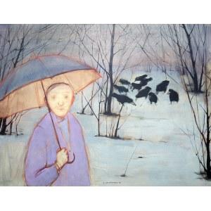 Andrzej Umiastowski (ur. 1956 Sopot), Pan z parasolką i krukami, 1994 r.