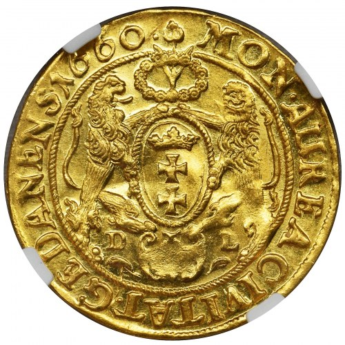 John II Casimir, Ducat Danzig 1660 DL - NGC MS62 - RARE BUST
