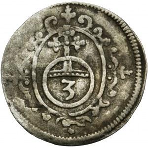 Germany, Schwarzburg-Sondershausen, Anton Heinrich, Johann Günther II and Christian Günther I, 3 Pfennig Arnstadt no date - EXTREMALY RARE