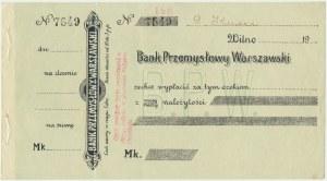 Bank Przemysłowy Warszawski - Czek na marki -