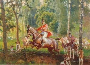 Zygmunt ROZWADOWSKI (1870-1950), Polowanie par force, 1925