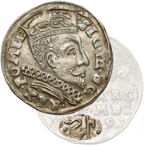 Zygmunt III Waza, Trojak Wilno 1599 - Łabędź - bardzo ładny