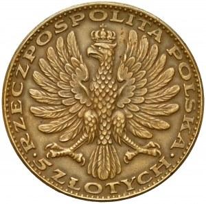 Amrogowicz 5 złotych 1928 - napis na obrzeżu - rzadkie