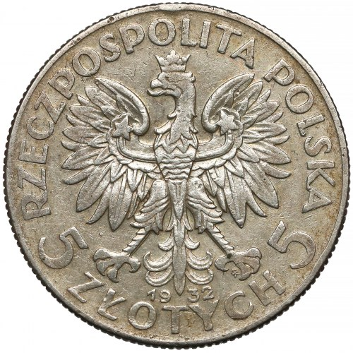 Głowa Kobiety, 5 złotych 1932 ze znakiem, Warszawa - rzadkie