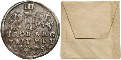 Zygmunt III Waza, Trojak Wilno 1598 - rurkowana kryza - ex. KAŁKOWSKI