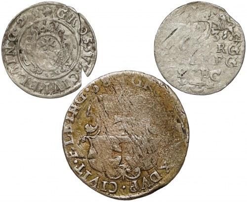 Gustaw II Adolf i Karol, Grosz, Trojak, Szóstak 1629-1658 - zestaw (3szt)