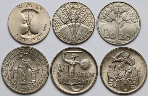 Próby MIEDZIONIKIEL 10 i 20 złotych 1964-1973 - zestaw (6szt)