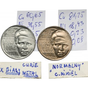 10 złotych 1967 Skłodowska - BIAŁY metal (zły stop) i miedzionikiel - rzadkość