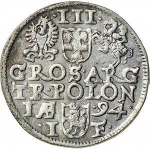 Zygmunt III Waza (1587–1632), trojak koronny, Olkusz; 1594