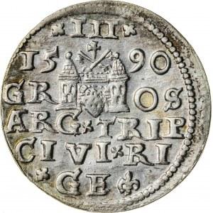 Zygmunt III Waza (1587–1632), trojak ryski, Ryga; 1590