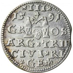 Zygmunt III Waza (1587–1632), trojak ryski, Ryga; 1591
