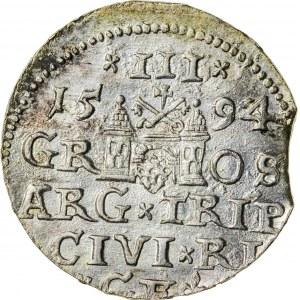 Zygmunt III Waza (1587–1632), trojak ryski, Ryga; 1594