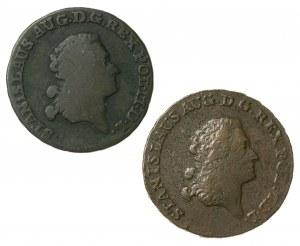 Stanisław August Poniatowski (1764–1795), trojak koronny z miedzi krajowej, Warszawa; 1787 oraz trojak koronny, Warszawa; 1793