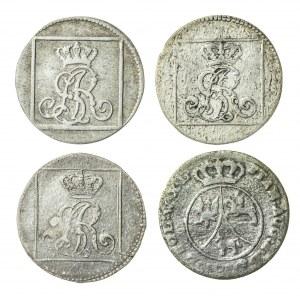 zestaw 4 sztuki: Stanisław August Poniatowski (1764–1795), grosz srebrny koronny, Warszawa; 1767 (2x F.S.), 1768 (1x F.S.) oraz dziesięć groszy koronnych; 1791