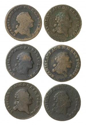 zestaw 6 szt trojaków koronnych Stanisława Augusta Poniatowskiego (1764–1795), z mennicy warszawskiej z lat 1766 (GROSS V S) (G), 1768 (G); 1767 (G), 1789 (E.B.); 1772(A.P.); 1770 (?) (G)
