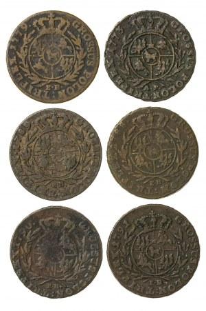 zestaw 6 szt trojaków koronnych Stanisława Augusta Poniatowskiego (1764–1795), z mennicy warszawskiej z lat: 1777 (E.B); 1773 (A.P.); 1789 (E.B.); 1788 (E.B.); 1790 (E.B.); 1791 (E.B.)