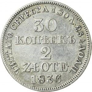 Królestwo Polskie, zabór rosyjski (1832–1841), Mikołaj I, 30 kopiejek / 2 złote, Warszawa; 1836