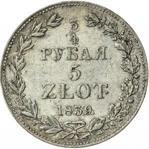 Królestwo Polskie, zabór rosyjski, Mikołaj I (1825-1855), 3/4 rubla / 5 złotych, Warszawa; 1839