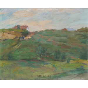 Henryk Musiałowicz (1914–2015), Pejzaż z domem na wzgórzu, 1949