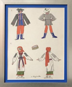 Zofia Stryjeńska, Plansza 12 z teki Polish Peasants Costumes, Copyright by C. Szwedzicki, 1927