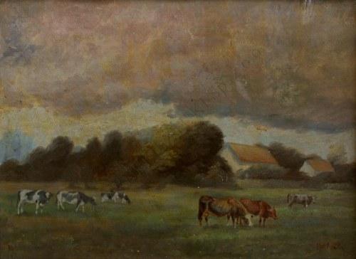 Motloch(XX w.), Pejzaż wiejski z krowami (1918)
