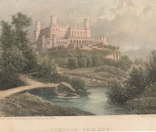 KAMIENIEC ZĄBKOWICKI. Pałac neogotycki z XIX w., ryt. Schulin, rys