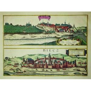 SANDOMIERZ, BIECZ. Panoramy miast na wspólnym arkuszu (odbite z 1 płyty)